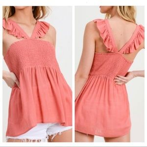 Ruffle strap tiered top